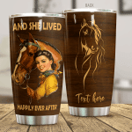 Personalized Horse And She Lived Happily Ever After Stainless Steel Tumbler Tumbler Cups For Coffee/Tea Perfect Customized Gifts For Birthday Christmas Thanksgiving Awesome Gifts For Horse Lovers