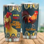 Personalized Flower Pattern Crazy Chicken Lady Stainless Steel Tumbler Perfect Gifts For Chicken Lover Tumbler Cups For Coffee/Tea, Great Customized Gifts For Birthday Christmas Thanksgiving