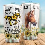 Personalized Sunflower Horse Just A Girl Who Loves Horses Stainless Steel Tumbler Tumbler Cups For Coffee/Tea Perfect Customized Gifts For Birthday Christmas Thanksgiving Awesome Gifts For Horse Lovers