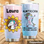 Personalized Aunticorn Like A Normal Aunt Stainless Steel Tumbler Perfect Gifts For Unicorn Lover Tumbler Cups For Coffee/Tea, Great Customized Gifts For Birthday Christmas Thanksgiving