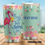 Personalized Flamingo Sandy Toes And Salty Lips Stainless Steel Tumbler Perfect Gifts For Flamingo Lover Tumbler Cups For Coffee/Tea, Great Customized Gifts For Birthday Christmas Thanksgiving