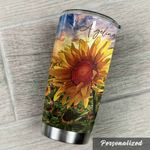 Personalized Sunshine On The Field Stainless Steel Tumbler Perfect Gifts For Sunflower Lover Tumbler Cups For Coffee/Tea, Great Customized Gifts For Birthday Christmas Thanksgiving