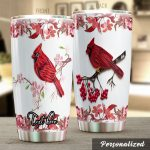 Personalized Beautiful Quilling Cardinals Stainless Steel Tumbler Perfect Gifts For Cardinal Lover Tumbler Cups For Coffee/Tea, Great Customized Gifts For Birthday Christmas Thanksgiving
