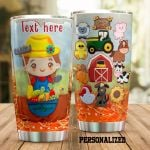 Personalized Farmer And Farm Animals Stainless Steel Tumbler Perfect Gifts For Farm Lover Tumbler Cups For Coffee/Tea, Great Customized Gifts For Birthday Christmas Thanksgiving