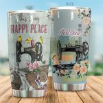 Personalized Sewing This Is My Happy Place Stainless Steel Tumbler Perfect Gifts For Sewing Lover Tumbler Cups For Coffee/Tea, Great Customized Gifts For Birthday Christmas Thanksgiving
