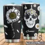 Personalized Skull And Daisy You Are My Sunshine Stainless Steel Tumbler Perfect Gifts For Skull Lover Tumbler Cups For Coffee/Tea, Great Customized Gifts For Birthday Christmas Thanksgiving