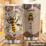 Personalized Floral Pattern Let It Bee Stainless Steel Tumbler Perfect Gifts For Bee Lover Tumbler Cups For Coffee/Tea, Great Customized Gifts For Birthday Christmas Thanksgiving