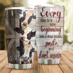 Personalized Cow Smile And Start Again Stainless Steel Tumbler Perfect Gifts For Cow Lover Tumbler Cups For Coffee/Tea, Great Customized Gifts For Birthday Christmas Thanksgiving