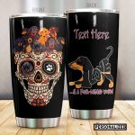 Personalized Dachshund And Sugar Skull Four Legged Word Stainless Steel Tumbler Perfect Gifts For Skull Lover Tumbler Cups For Coffee/Tea, Great Customized Gifts For Birthday Christmas Thanksgiving
