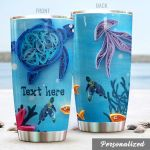 Personalized Sea Turtle In Ocean Stainless Steel Tumbler Perfect Gifts For Turtle Lover Tumbler Cups For Coffee/Tea, Great Customized Gifts For Birthday Christmas Thanksgiving