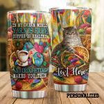 Personalized Tabby Cat Crochet Yarn Is Free Coffee Is Healthy Stainless Steel Tumbler Perfect Gifts For Cat Lover Tumbler Cups For Coffee/Tea, Great Customized Gifts For Birthday Christmas Thanksgiving