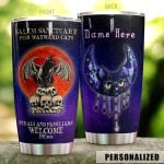 Personalized Wicca Black Cat Feral And Familliars Welcome Stainless Steel Tumbler Perfect Gifts For Black Cat Lover Tumbler Cups For Coffee/Tea, Great Customized Gifts For Birthday Christmas Thanksgiving