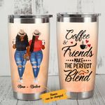 Personalized Black Girl Coffee And Friends Make The Perfect Blend Stainless Steel Tumbler, Tumbler Cups For Coffee/Tea, Great Customized Gifts For Birthday Christmas Thanksgiving