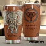 Personalized Mandala Pattern Elephant A Private Life Is A Happy Life Stainless Steel Tumbler Perfect Gifts For Elephant Lover Tumbler Cups For Coffee/Tea, Great Customized Gifts For Birthday Christmas Thanksgiving