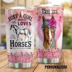 Personalized Lovely Horse A Girl Who Loves Horses Stainless Steel Tumbler Tumbler Cups For Coffee/Tea Perfect Customized Gifts For Birthday Christmas Thanksgiving Awesome Gifts For Horse Lovers