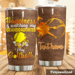 Personalized Softball Happiness Is Watching My Granddaughter Stainless Steel Tumbler Perfect Gifts For Teacher Lover Tumbler Cups For Coffee/Tea, Great Customized Gifts For Birthday Christmas Thanksgiving