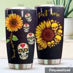 Personalized Sunflower Skull You Are My Sunshine Stainless Steel Tumbler Perfect Gifts For Skull Lover Tumbler Cups For Coffee/Tea, Great Customized Gifts For Birthday Christmas Thanksgiving