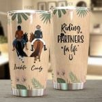 Personalized Riding Horse Partners For Life Stainless Steel Tumbler Perfect Gifts For Best Friend Tumbler Cups For Coffee/Tea, Great Customized Gifts For Birthday Christmas Thanksgiving