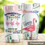 Personalized Tropical Flamingo We're Together Stainless Steel Tumbler Perfect Gifts For Flamingo Lover Tumbler Cups For Coffee/Tea, Great Customized Gifts For Birthday Christmas Thanksgiving