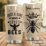 Personalized Queen Bee Just A Girl Who Loves Bees Stainless Steel Tumbler Perfect Gifts For Bee Lover Tumbler Cups For Coffee/Tea, Great Customized Gifts For Birthday Christmas Thanksgiving