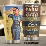 Personalized Farmer It's The Love Hard Work Stainless Steel Tumbler Perfect Gifts For Farmer Tumbler Cups For Coffee/Tea, Great Customized Gifts For Birthday Christmas Thanksgiving