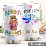 Personalized Dragonfly Hippie Lady Was Your First Mistake Stainless Steel Tumbler Perfect Gifts For Dragonfly Lover Tumbler Cups For Coffee/Tea, Great Customized Gifts For Birthday Christmas Thanksgiving