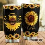 Personalized Hippie Van Sunflower Just A Girl Who Loves Sunflowers Stainless Steel Tumbler Perfect Gifts For Hippie Tumbler Cups For Coffee/Tea, Great Customized Gifts For Birthday Christmas Thanksgiving
