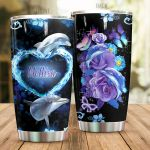 Personalized Lovely Dolphin And Purple Flower Stainless Steel Tumbler Perfect Gifts For Dolphin Lover Tumbler Cups For Coffee/Tea, Great Customized Gifts For Birthday Christmas Thanksgiving