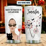 Personalized Cats And Wine Dandelion Easily Distracted By Cats And Wine Stainless Steel Tumbler, Tumbler Cups For Coffee/Tea, Great Customized Gifts For Birthday Christmas Thanksgiving