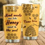 Personalized Bee Lover Kind Words Are Like Honey Stainless Steel Tumbler Perfect Gifts For Bee Lover Tumbler Cups For Coffee/Tea, Great Customized Gifts For Birthday Christmas Thanksgiving