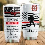 Personalized Firefighter Wife Loves Him With All Her Heart Stainless Steel Tumbler Perfect Gifts For Firefighter Lover Tumbler Cups For Coffee/Tea, Great Customized Gifts For Birthday Christmas Thanksgiving Wedding Valentine's Day