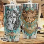 Personalized Native American Wolf Owl Stainless Steel Tumbler, Tumbler Cups For Coffee/Tea, Great Customized Gifts For Birthday Christmas Thanksgiving