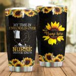 Personalized Nurse Sunflower My Time In Uniform Is Over Stainless Steel Tumbler Perfect Gifts For Nurse Lover Tumbler Cups For Coffee/Tea, Great Customized Gifts For Birthday Christmas Thanksgiving