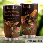 Personalized Bee Zipper Kind Words Are Like Honey Stainless Steel Tumbler Perfect Gifts For Bee Lover Tumbler Cups For Coffee/Tea, Great Customized Gifts For Birthday Christmas Thanksgiving
