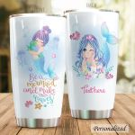 Personalized Be A Mermaid And Make Waves Stainless Steel Tumbler Perfect Gifts For Mermaid Lover Tumbler Cups For Coffee/Tea, Great Customized Gifts For Birthday Christmas Thanksgiving