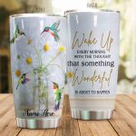 Personalized Hummingbird And Daisy Wake Up Every Morning Stainless Steel Tumbler Perfect Gifts For Hummingbird Lover Tumbler Cups For Coffee/Tea, Great Customized Gifts For Birthday Christmas Thanksgiving