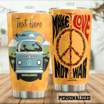 Personalized Hippie Symbol Van Make Love Not War Stainless Steel Tumbler Perfect Gifts For Hippie Tumbler Cups For Coffee/Tea, Great Customized Gifts For Birthday Christmas Thanksgiving