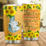 Personalized Elephant Sunflower To My Daughter From Mom Find Word To Tell You How Much You Mean To Me Stainless Steel Tumbler Perfect Gifts For Elephant Lover Tumbler Cups For Coffee/Tea, Great Customized Gifts For Birthday Christmas Thanksgiving