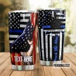 Personalized Police Sunflower American Fla Back The Blue Stainless Steel Tumbler Perfect Gifts For Police Tumbler Cups For Coffee/Tea, Great Customized Gifts For Birthday Christmas Thanksgiving