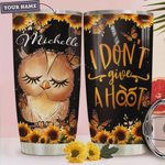 Personalized Owl Sunflower I Don't Give A Hoot Stainless Steel Tumbler, Tumbler Cups For Coffee/Tea, Great Customized Gifts For Birthday Christmas Thanksgiving