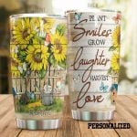 Personalized Sunflower Garden Plant Smiles Glow Laughter Stainless Steel Tumbler Perfect Gifts For Sunflower Lover Tumbler Cups For Coffee/Tea, Great Customized Gifts For Birthday Christmas Thanksgiving