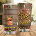 Personalized Sunflower Pattern Just A Girl Who Loves Elephant Stainless Steel Tumbler Perfect Gifts For Elephant Lover Tumbler Cups For Coffee/Tea, Great Customized Gifts For Birthday Christmas Thanksgiving