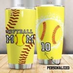 Personalized Softball Mom Stainless Steel Tumbler Tumbler Cups For Coffee/Tea Great Customized Gifts For Birthday Christmas Thanksgiving Perfect Gifts For Softball Lovers