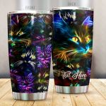 Personalized Cat Neon Stainless Steel Tumbler Perfect Gifts For Cat Lover Tumbler Cups For Coffee/Tea, Great Customized Gifts For Birthday Christmas Thanksgiving