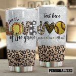 Personalized Peace Love Softball Stainless Steel Tumbler Tumbler Cups For Coffee/Tea Great Customized Gifts For Birthday Christmas Thanksgiving Perfect Gifts For Softball Lovers