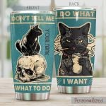 Personalized Skull Black Cat I Do What I Want Stainless Steel Tumbler Perfect Gifts For Black Cat Lover Tumbler Cups For Coffee/Tea, Great Customized Gifts For Birthday Christmas Thanksgiving