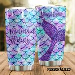 Personalized Mermaid Off Duty Glitter Stainless Steel Tumbler Perfect Gifts For Mermaid Lover Tumbler Cups For Coffee/Tea, Great Customized Gifts For Birthday Christmas Thanksgiving