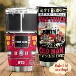 Personalized Firetruck Firefighter I Ain't Perfect Stainless Steel Tumbler Perfect Gifts For Firefighter Tumbler Cups For Coffee/Tea, Great Customized Gifts For Birthday Christmas Thanksgiving