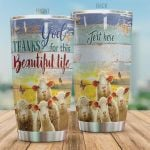 Personalized Sheep Dear God Thank For This Beautiful Life Stainless Steel Tumbler, Tumbler Cups For Coffee/Tea, Great Customized Gifts For Birthday Christmas Thanksgiving