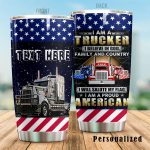 Personalized I Am An Trucker I Believe In God Stainless Steel Tumbler Perfect Gifts For Truck Driver Tumbler Cups For Coffee/Tea, Great Customized Gifts For Birthday Christmas Thanksgiving